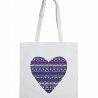 Aztec Heart Cotton Tote Bag with Fair Isle Pattern