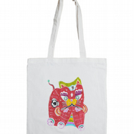 Red Tiger King Cotton Tote Bag featuring a Lucky Red Chinese Tiger
