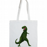T Rex Cotton Tote Bag with Dinosaur Illustration