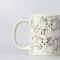 Woodland Mug, featuring Deers, Rabbits, Foxes, Owls and more!