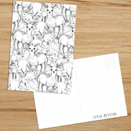 Woodland Postcard featuring deers, rabbits, owls, foxes and more!