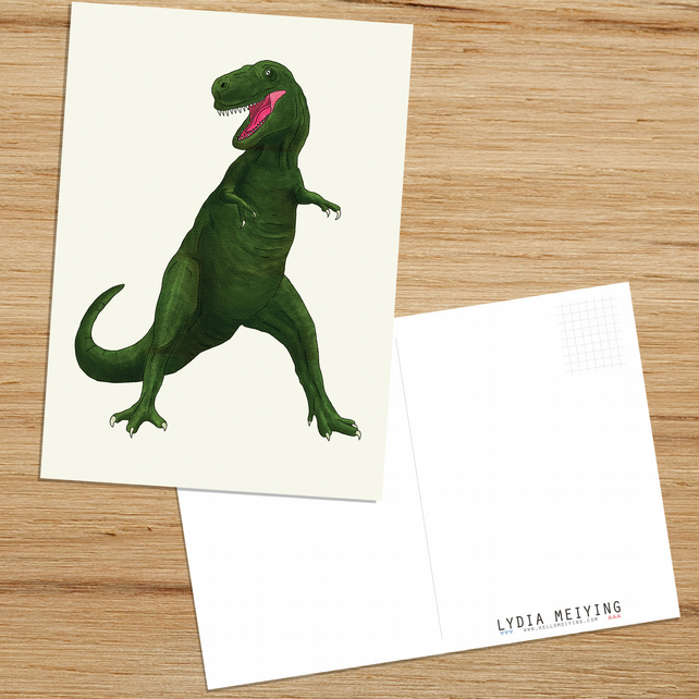 T Rex, Postcard with Dinosaur Illustration