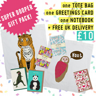 SUPER DOOPER GIFT PACK! Includes: 1 Tote Bag, 1 Notebook, 1 Greetings Card