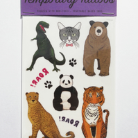 Temporary Tattoos, Animal Designs:  T Rex, Bear, Tiger, Panda and more!
