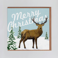 Merry Christmas Card with Stag Illustrated Design