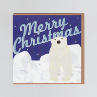 Merry Christmas Card with Polar Bear Illustration