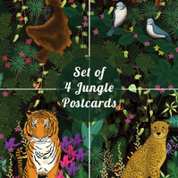 Set of Four Jungle Postcards, together they make a Jungle Scene!