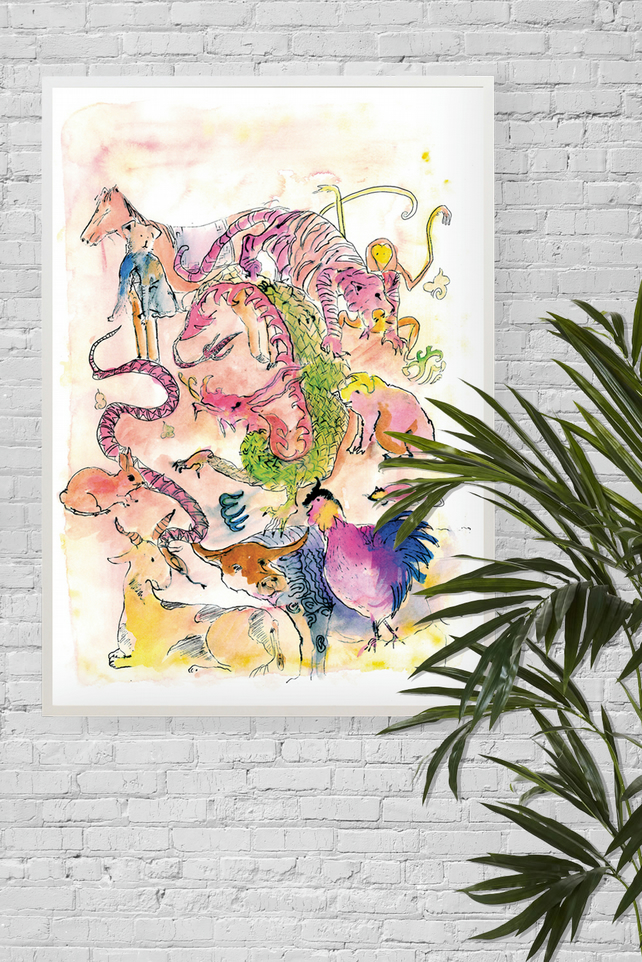 Zodiac, A3 Giclée Print, Illustrated Chinese New Year Animals