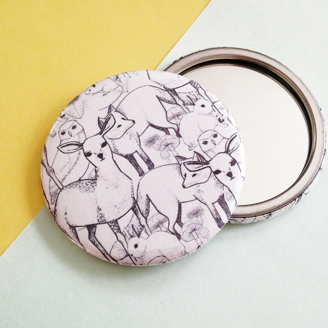 Pocket Mirror with Woodland Critter Design. Deers, Owls, Foxes, Rabbits & more!