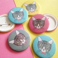 Illustrated Cat Badge