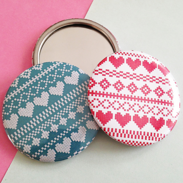 Fair Isle Patterned Pocket Mirror