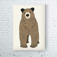 Toby, A4 Heavy Weight Digital Print with Cute Bear Illustration