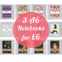 3 A6 Notebooks, Mix and Match for 6 pounds