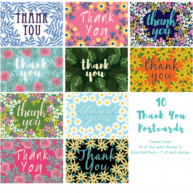 Pack of 10 Thank You Postcards with Brown Kraft Envelopes - Assorted Designs