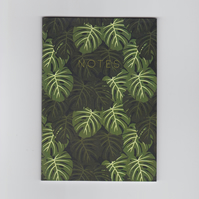 A6 Mini Notebook - Monstera - with a Tropical Cheese Plant Design