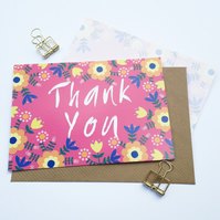 Pack of 10 Thank You Postcards with Brown Kraft Envelopes - Folk Flowers