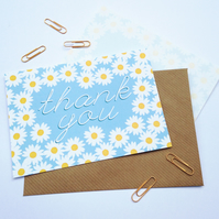 Pack of 10 Thank You Postcards with Brown Kraft Envelopes - Daisy