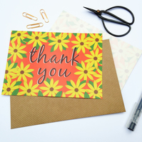 Pack of 10 Thank You Postcards with Brown Kraft Envelopes - Gerbera Orange