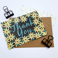 Pack of 10 Thank You Postcards with Brown Kraft Envelopes - Gerbera Black