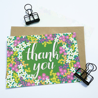Pack of 10 Thank You Postcards with Brown Kraft Envelopes - Spring Floral