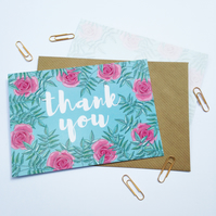 Pack of 10 Thank You Postcards with Brown Kraft Envelopes - Blue Rose