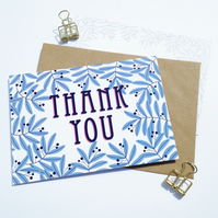 Pack of 10 Thank You Postcards with Brown Kraft Envelopes - Blue Leaves
