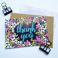 Pack of 10 Thank You Postcards with Brown Kraft Envelopes - Ditsy Floral
