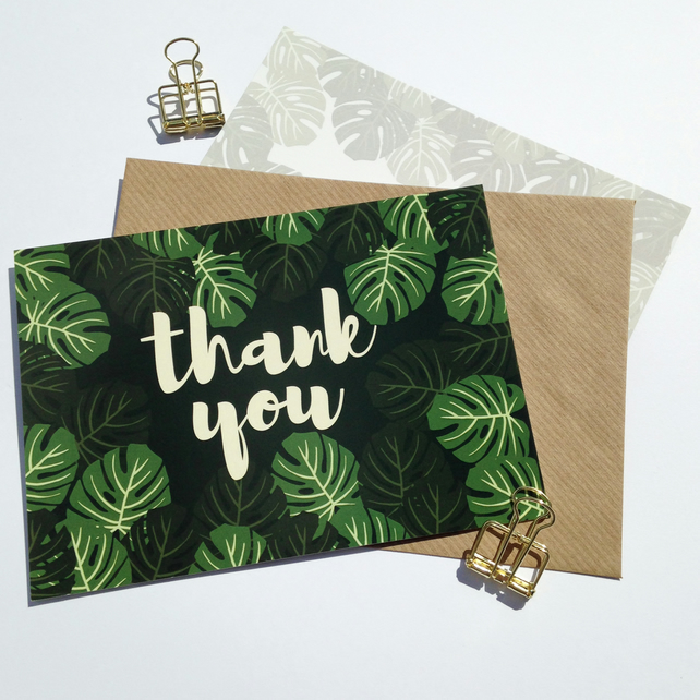 Pack of 10 Thank You Postcards with Brown Kraft Envelopes - Monstera