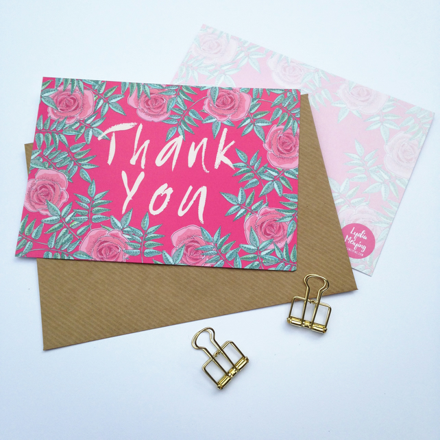 Pack of 10 Thank You Postcards with Brown Kraft Envelopes - Pink Rose
