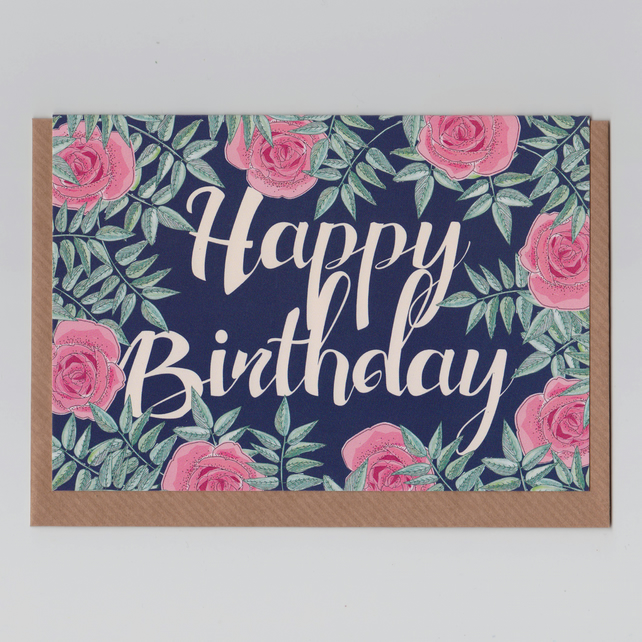 Happy Birthday Card - Roses