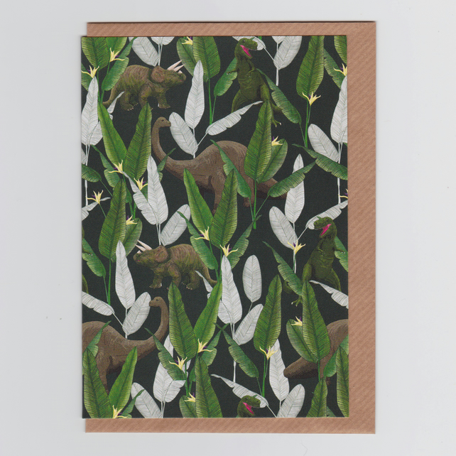 Blank Greetings Card - Dinosaur Jungle Green