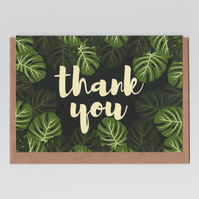 Thank You Card - Monstera