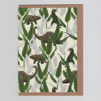 Blank Greetings Card - Dinosaur Jungle Cream