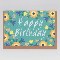Happy Birthday Card - Folk Art Flowers Design