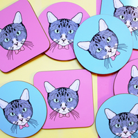 Round or Square Coaster, Cat Design, Choice of Pink or Turquoise Background.