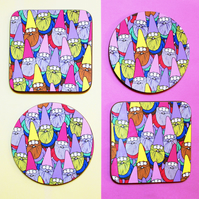 Round or Square Coaster with Mister Gnome Pattern
