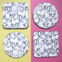 Round or Square Coaster with Woodland Design, A pattern of Forrest Friends