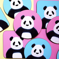 Round or Square Coaster, Panda Design, Choice of Pink or Turquoise Background