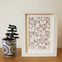Woodland, A6 Print, with mount and in either white or black frame.