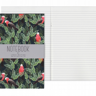 Lined Pages A5 Notebook - Galah Red