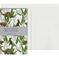 Lined Pages A5 Notebook - Dinosaur Jungle Cream