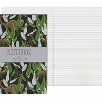 Lined Pages A5 Notebook - Dinosaur Jungle Green