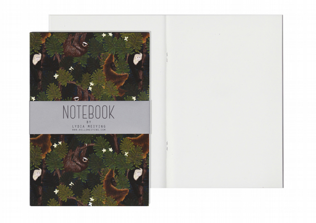 Plain Pages A5 Notebook - Monkeys and Sloths
