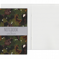 Lined Pages A5 Notebook - Monkeys and Sloths