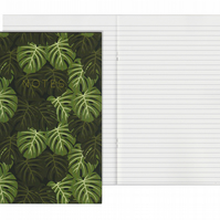 Lined Pages A5 Notebook - Monstera