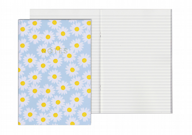 Lined Pages A5 Notebook - Daisy