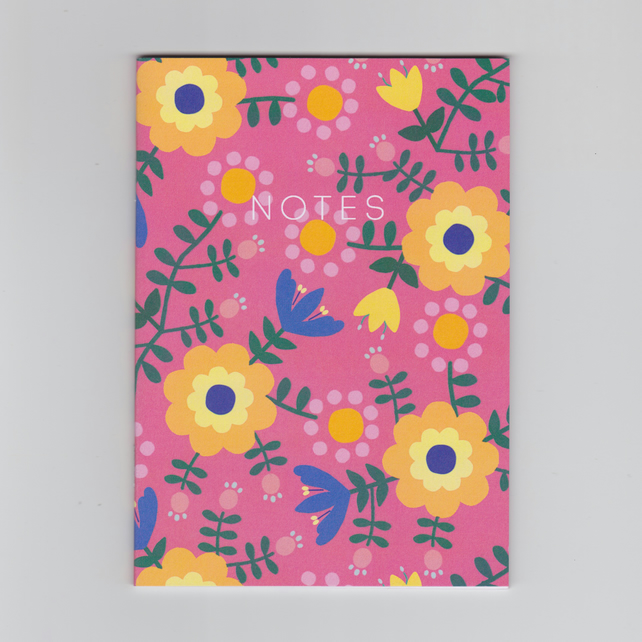 A6 Mini Notebook - Folk Flowers - a Folk Inspired Floral Pattern