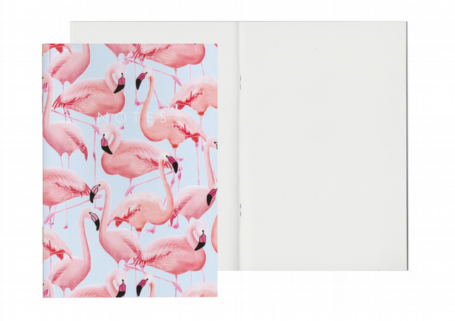 Plain Pages A5 Notebook - Flamingos