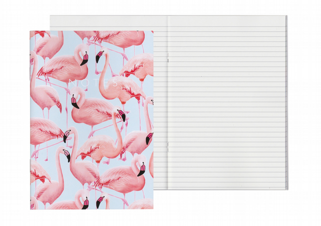 Lined Pages A5 Notebook - Flamingos