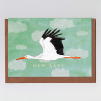New Baby Card - Stork (green)